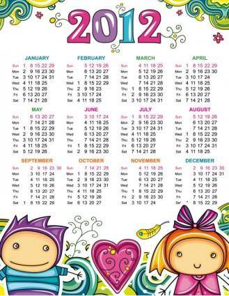 free vector Cartoon calendar 2012 01 vector