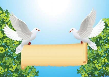 Cartoon peace dove and roll vector