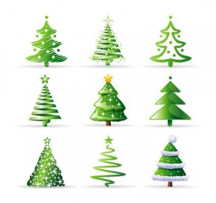 free vector A variety of cartoon christmas tree vector