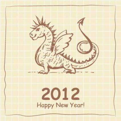 2012 cartoon dragon cards 01 vector