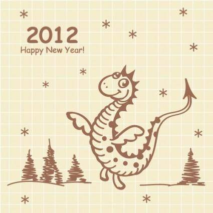 Cartoon dragon 2012 cards 02 vector