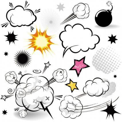 Cartoonstyle mushroom cloud layer 01 vector