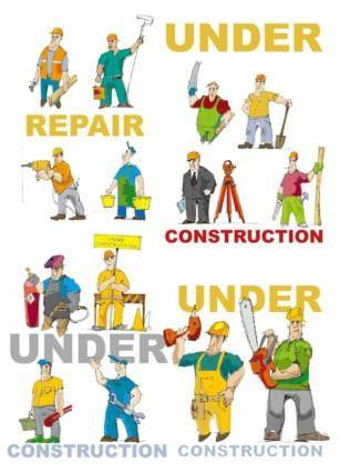 Cartoon of workers and tools vector