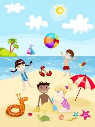 free vector Cartoon kids summer 02 vector