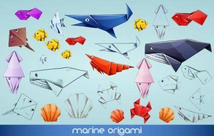 free vector Cute cartoon animal origami 02 vector