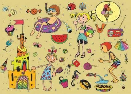 free vector Cartoon kids in summer 01 vector