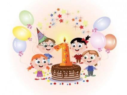 free vector Cartoon birthday cards 01 vector