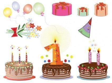 free vector Cartoon birthday cards 04 vector