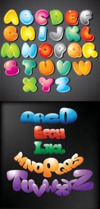 free vector Cute cartoon of the letters vector
