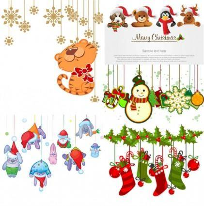 Cartoon christmas ornaments vector