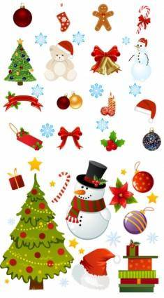 Exquisite cartoon christmas ornaments vector