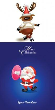 free vector Cartoon moose and santa claus vector