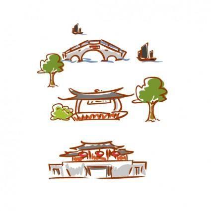 free vector Original handdrawn cartoon landscape elements