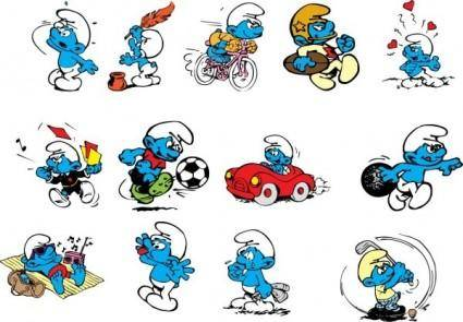 free vector Smurfs cartoon characters vector