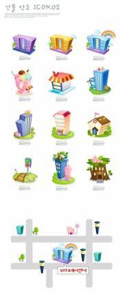 free vector Cartoon clip art house map