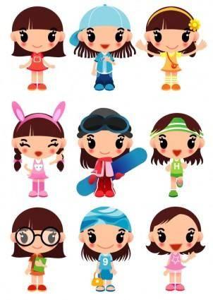 free vector Super cute cartoon girl vector
