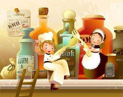 South korea beautiful cartoonstyle illustrations vector 4