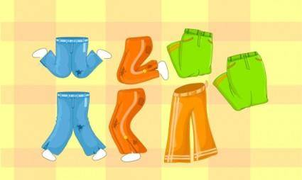 Collection of vector cartoon pants