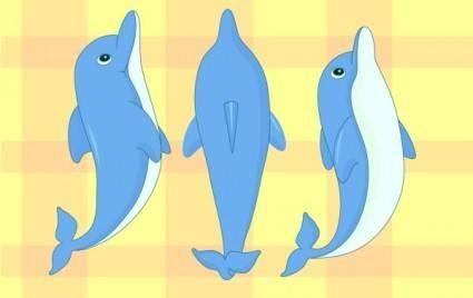 free vector Cartoon dolphin
