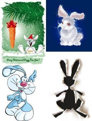 free vector Cute cartoon rabbit image vector