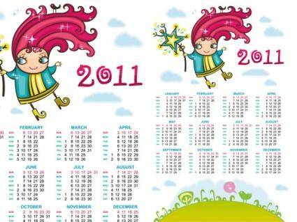 free vector 2011 handdrawn cartoon clip art calendar