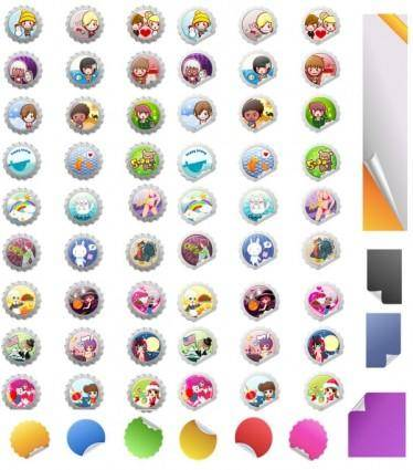 Vector cartoon caps u0026amp stickers