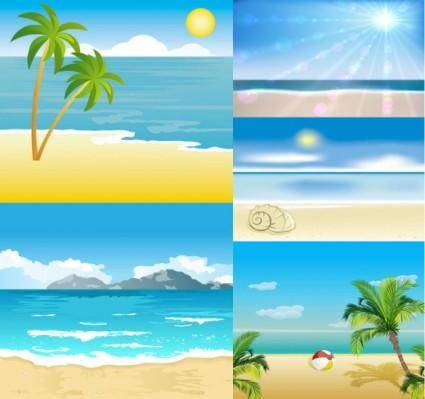 free vector Cartoon seaside landscape vector