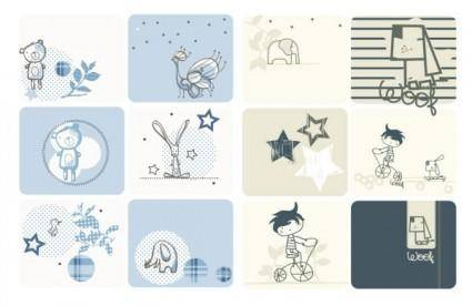 free vector Cute cartoon graphics vector