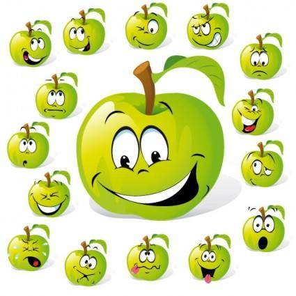 Cartoon fruit expression 01 vector