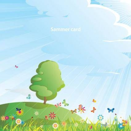 free vector Summer cartoon images 05 vector