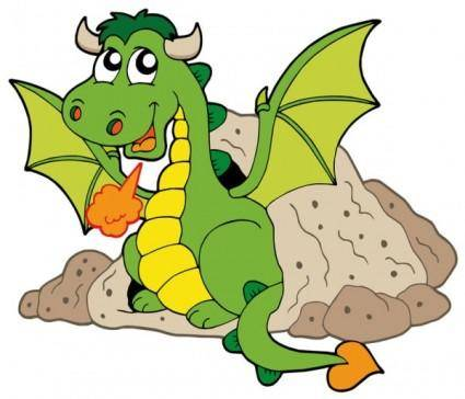 free vector Cute cartoon dragon 03 vector