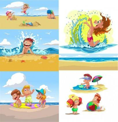 free vector Cartoon children summer beach vector