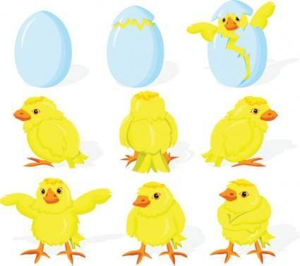 free vector Cartoon chicks break the shell 01 vector