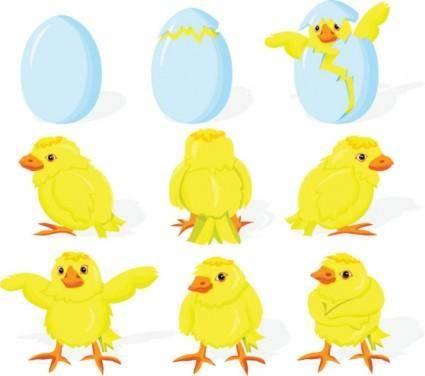 Cartoon chicks break the shell 01 vector