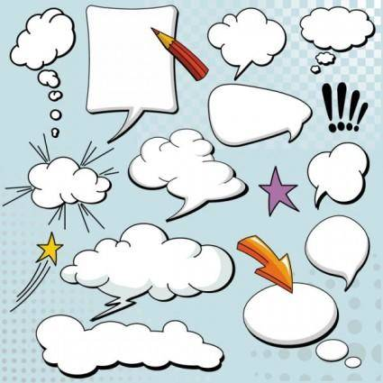 Cartoonstyle mushroom cloud layer dialog 04 vector