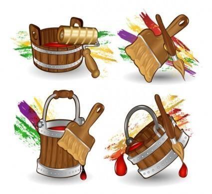 free vector Cartoon paint bucket vector