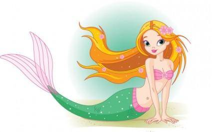 free vector Cartoon mermaid 02 vector