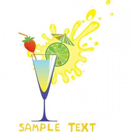 Cartoon high glass and juice 05 vector