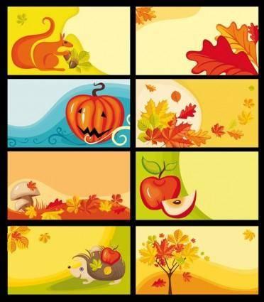 free vector Cartoon clip art decorative elements fall