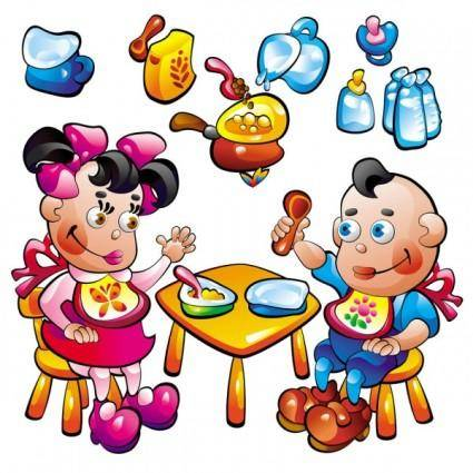 Cartoon baby food toys 02 vector