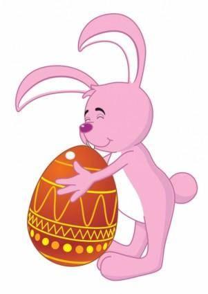 free vector Cartoon bunny and egg 01 vector