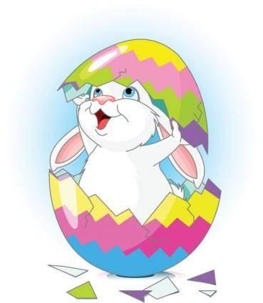 Cartoon bunny and egg 02 vector