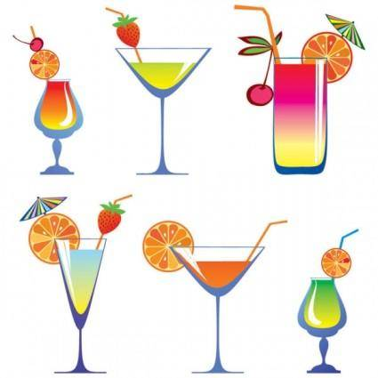 Cartoon high glass and juice 01 vector