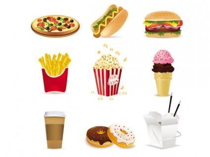 free vector Fast food cartoon 01 vector
