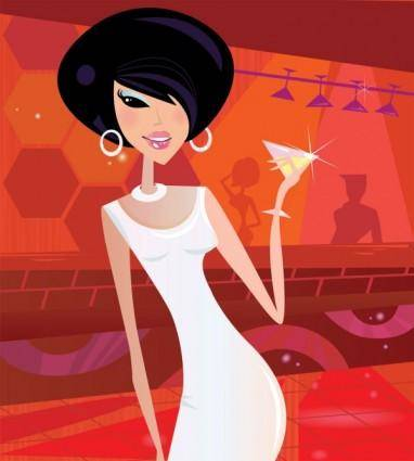 Cartoon beauty illustration 05 vector