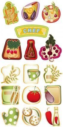 Exquisite cartoon vegetables vector
