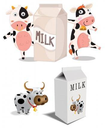 free vector Cartoon cow vector milk cartons and