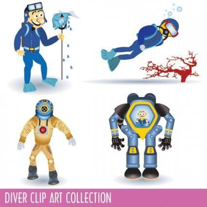 free vector Cartoon divers 02 vector