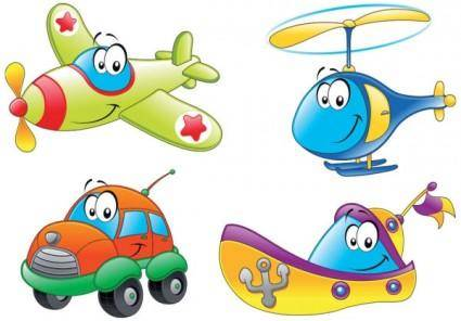 free vector Cartoon means of transport 01 vector