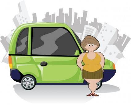 free vector Cute cartoon characters and car 05 vector